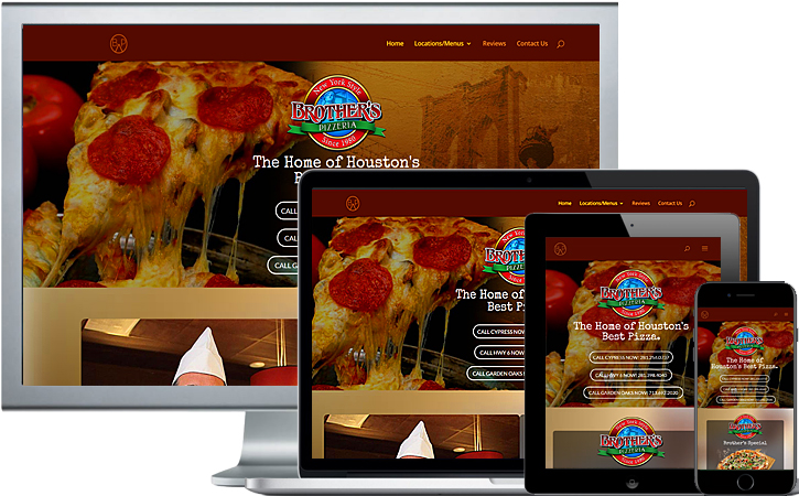 Brothers pizzeria website fully responsive on desktop, laptop, tablet and phones